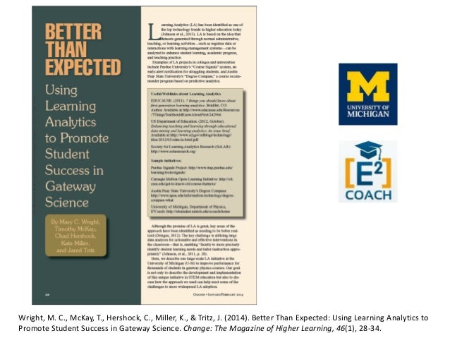 Wright, M. C., McKay, T., Hershock, C., Miller, K., & Tritz, J. (2014). Better Than Expected: Using Learning Analytics to ...
