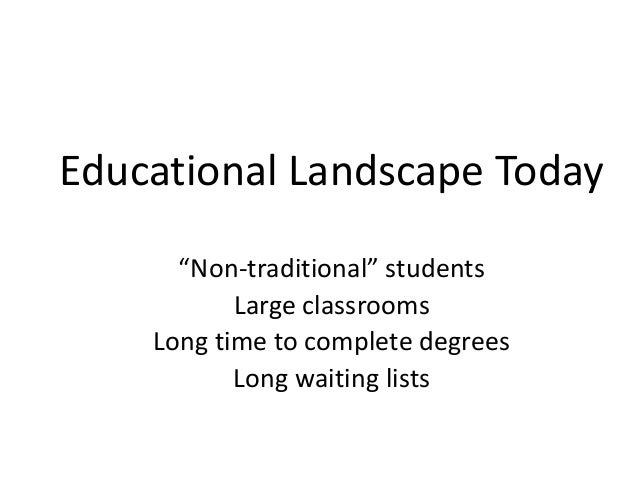"""Educational Landscape Today """"Non-traditional"""" students Large classrooms Long time to complete degrees Long waiting lists"""