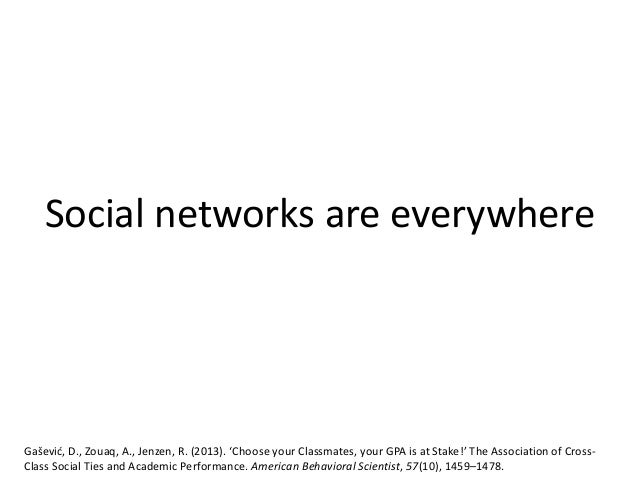 Social networks are everywhere Gašević, D., Zouaq, A., Jenzen, R. (2013). 'Choose your Classmates, your GPA is at Stake!' ...