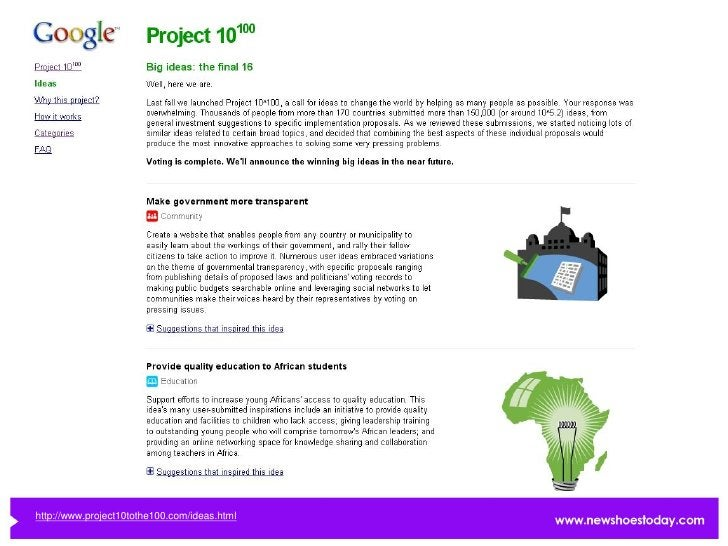 http://www.project10tothe100.com/ideas.html