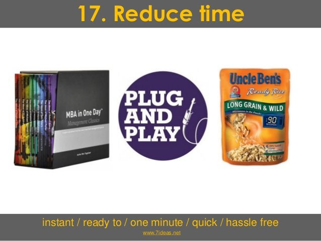 17. Reduce time instant / ready to / one minute / quick / hassle free www.7ideas.net