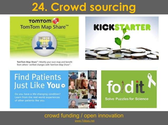 24. Crowd sourcing crowd funding / open innovation www.7ideas.net