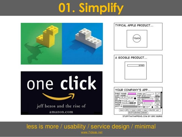01. Simplify less is more / usability / service design / minimal www.7ideas.net