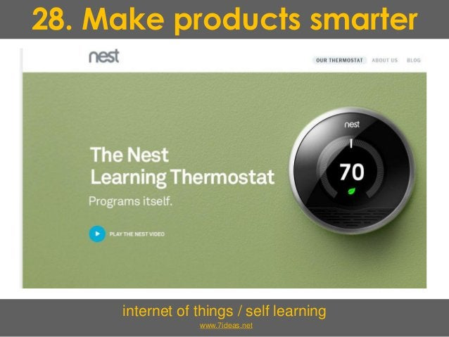 28. Make products smarter internet of things / self learning www.7ideas.net