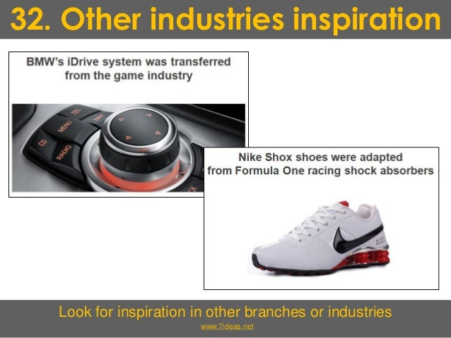 32. Other industries inspiration Look for inspiration in other branches or industries www.7ideas.net