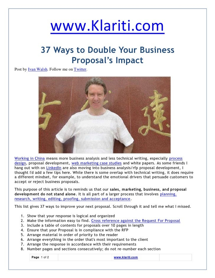 www.Klariti.com                37 Ways to Double Your Business                      Proposal's Impact Post by Ivan Walsh. ...