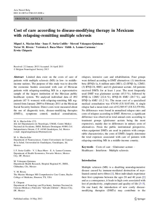 Acta Neurol Belg DOI 10.1007/s13760-013-0200-z  ORIGINAL ARTICLE  Cost of care according to disease-modifying therapy in M...