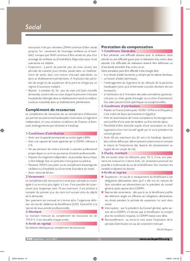 Social  •  •  Prestation de compensation  ressources n'est pas maintenu (l'AAH continue d'être versée jusqu'au 1er verseme...
