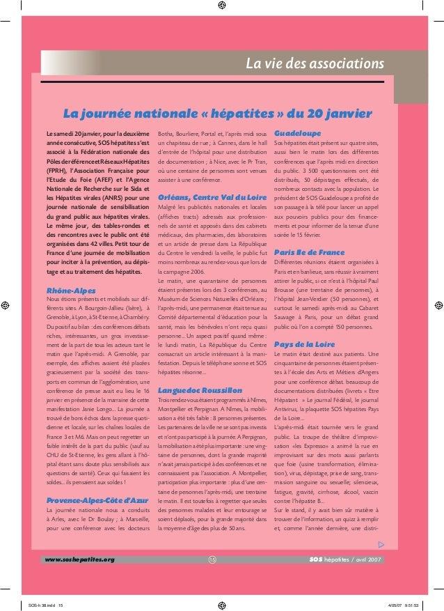 La vie des associations La journée nationale « hépatites » du 20 janvier Le samedi 20 janvier, pour la deuxième année cons...