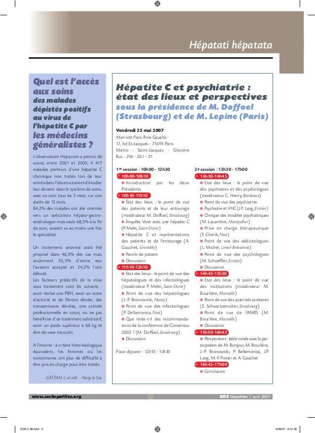Hépatati hépatata Quel est l'accès aux soins des malades dépistés positifs au virus de l'hépatite C par  les médecins géné...