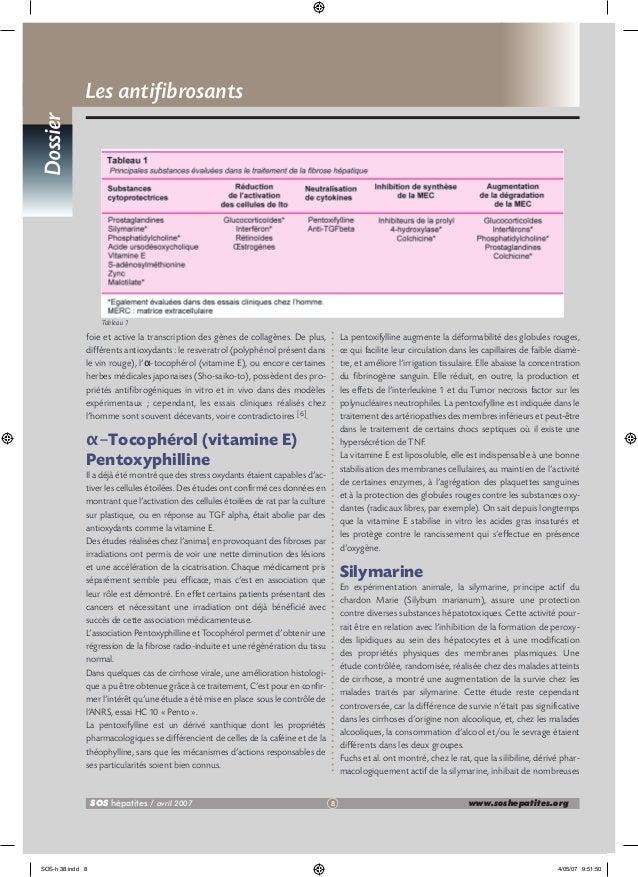 Dossier  Les antifibrosants  Tableau 1  foie et active la transcription des gènes de collagènes. De plus, différents antio...
