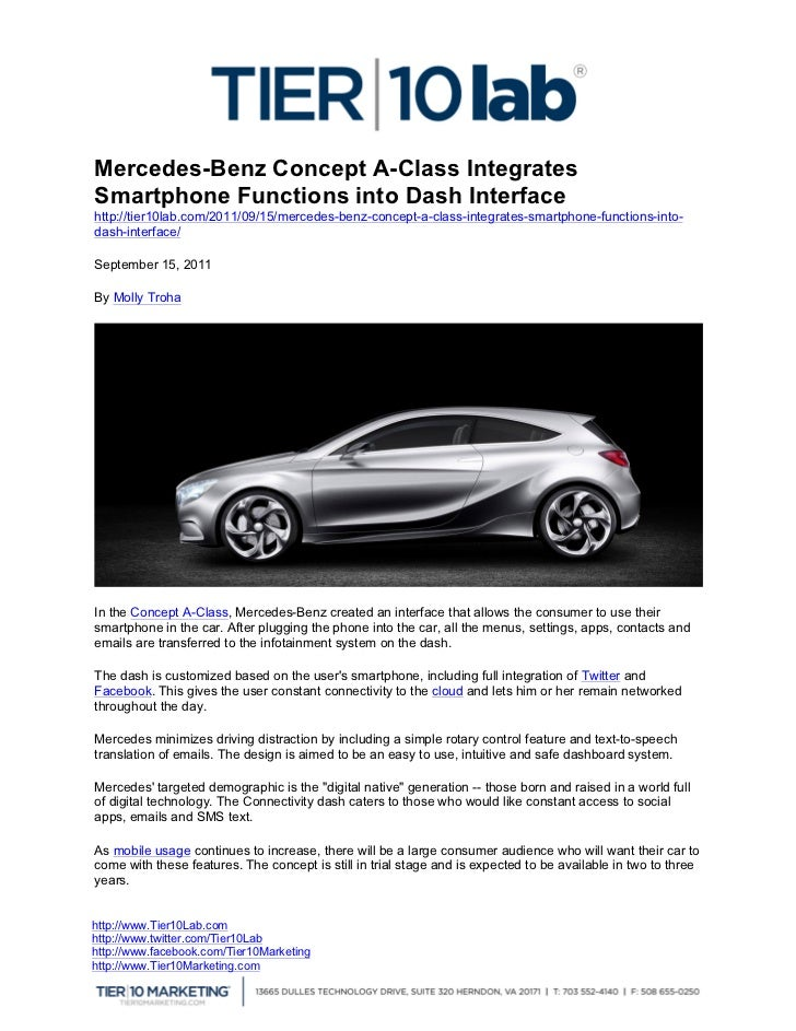 Mercedes-Benz Concept A-Class Integrates   Smartphone Functions into Dash Interface 	     http://tier10lab.com/2011/09...