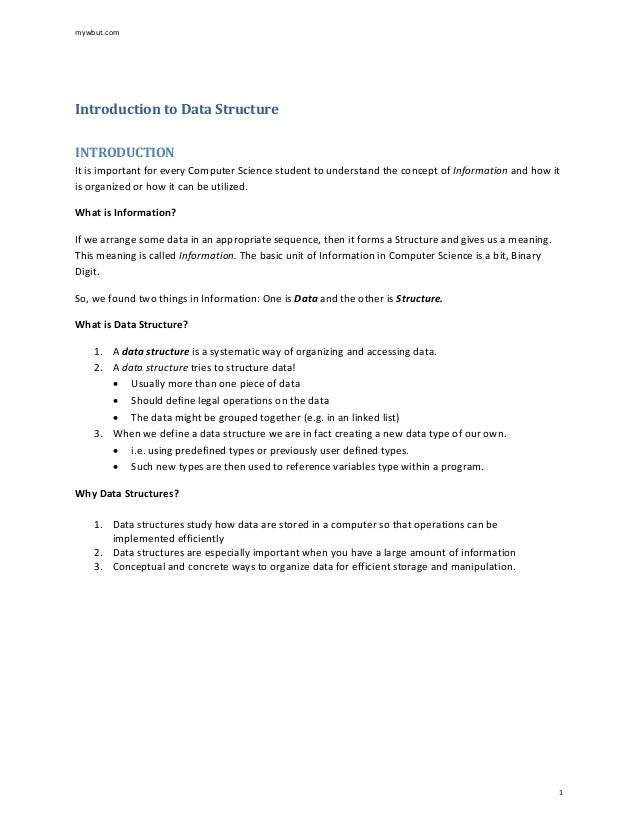 Introduction to Data Structure INTRODUCTION It is important for every Computer Science student to understand the concept o...