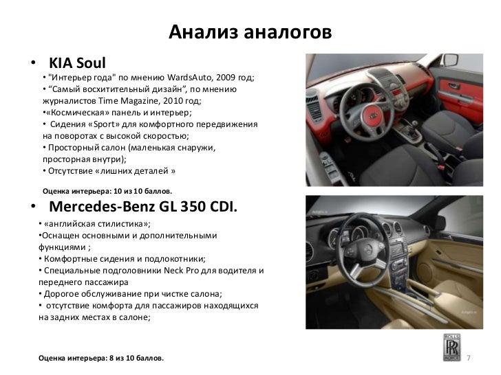 """Анализ аналогов• KIA Soul  • """"Интерьер года"""" по мнению WardsAuto, 2009 год;  • """"Самый восхитительный дизайн"""", по мнению  ж..."""