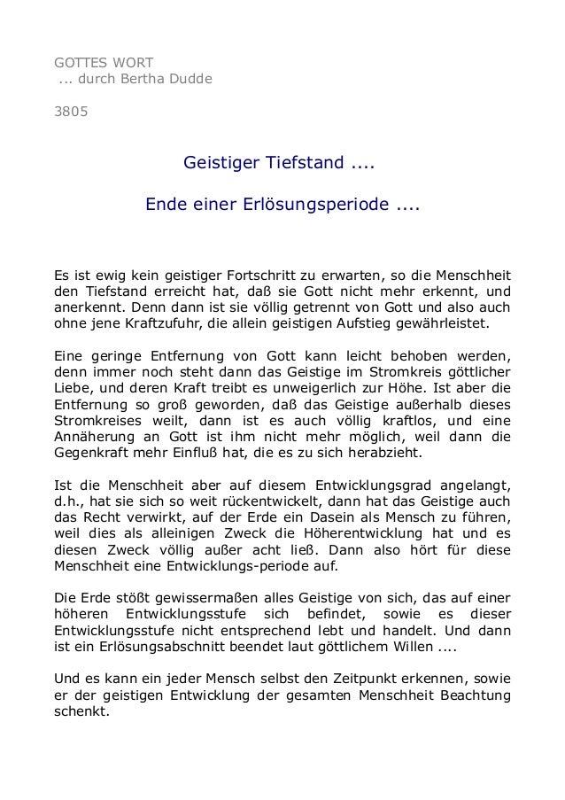 GOTTES WORT ... durch Bertha Dudde 3805 Geistiger Tiefstand .... Ende einer Erlösungsperiode .... Es ist ewig kein geistig...