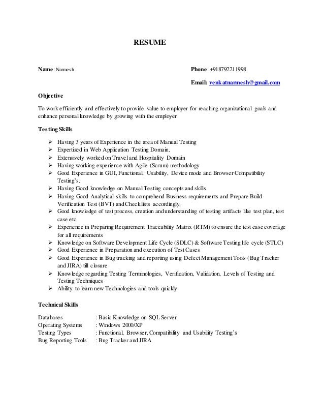 narmesh 3 yrs manual testing resume