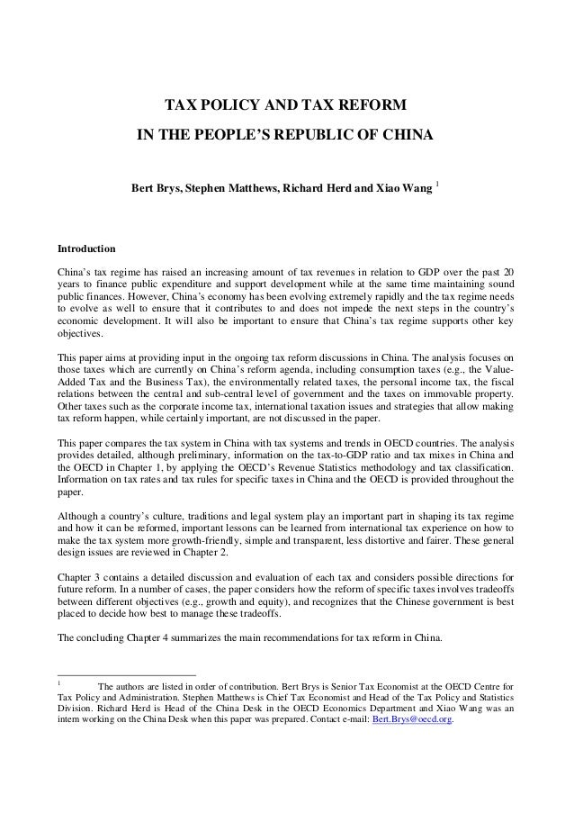 Tax policy and tax reform in the People's Republic of China