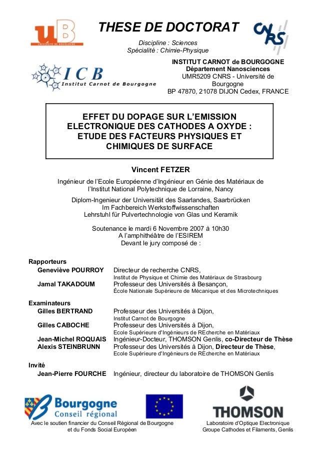 THESE DE DOCTORAT Discipline : Sciences Spécialité : Chimie-Physique INSTITUT CARNOT de BOURGOGNE Département Nanosciences...