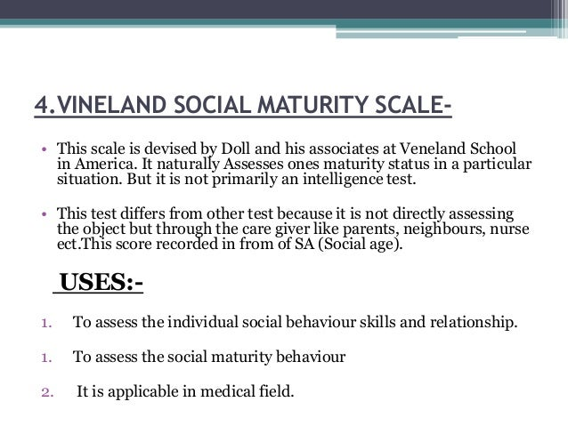 Vineland social maturity scale ppt