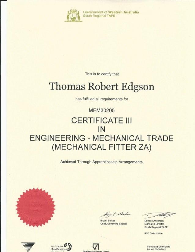 Trade Certificate Tafe