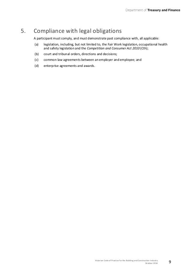 Victorian Code Of Practice For The Building And Construction Industry