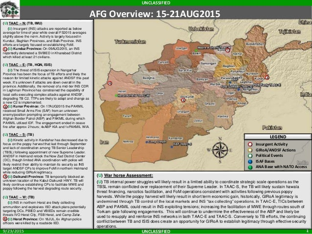 UNCLASSIFIED UNCLASSIFIED 19/23/2015 AFG Overview: 15-21AUG2015 LEGEND Insurgent Activity GIRoA/ANSF Actions Political Eve...
