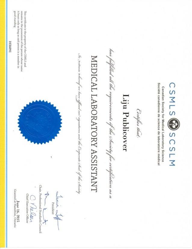 CSMLS Certificate