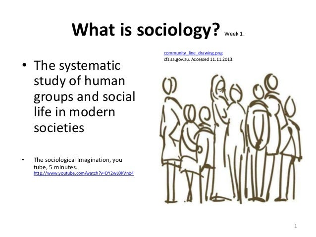 What is sociology? • The systematic study of human groups and social life in modern societies •  Week 1.  community_line_d...