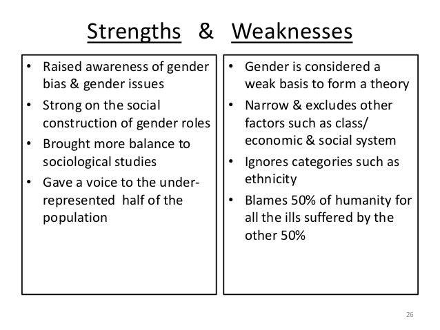 """strengths and weaknesses in feminism Reading glasses: feminist criticism """"feminism is the radical notion that women are human beings"""" cheris kramerae, a feminist dictionary (1991) feminist biblical criticism, like feminism itself, comes in many types of packaging, each of which."""