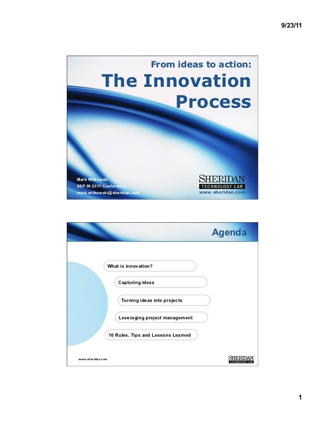 9/23/11                                     From ideas to action:            The Innovation                   ProcessMark ...