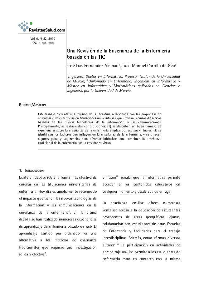 Vol. 6, Nº 22, 2010         ISSN: 1698-7969                                   Una Revisión de la Enseñanza de la Enfermerí...