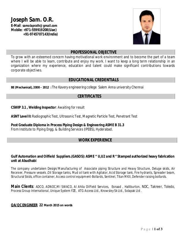 Quality Engineer CV
