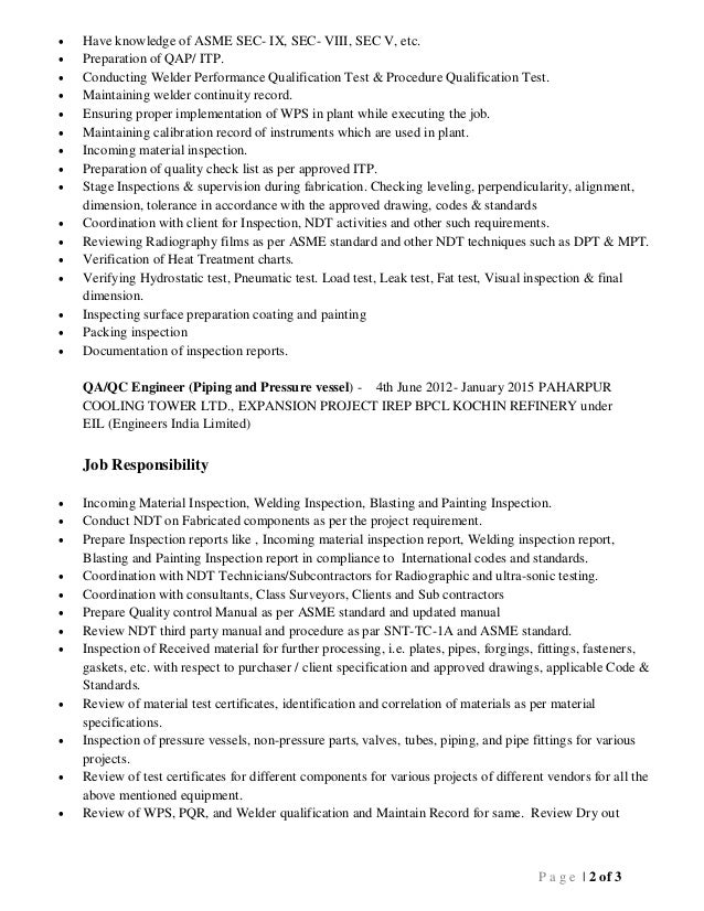 quality engineer cv