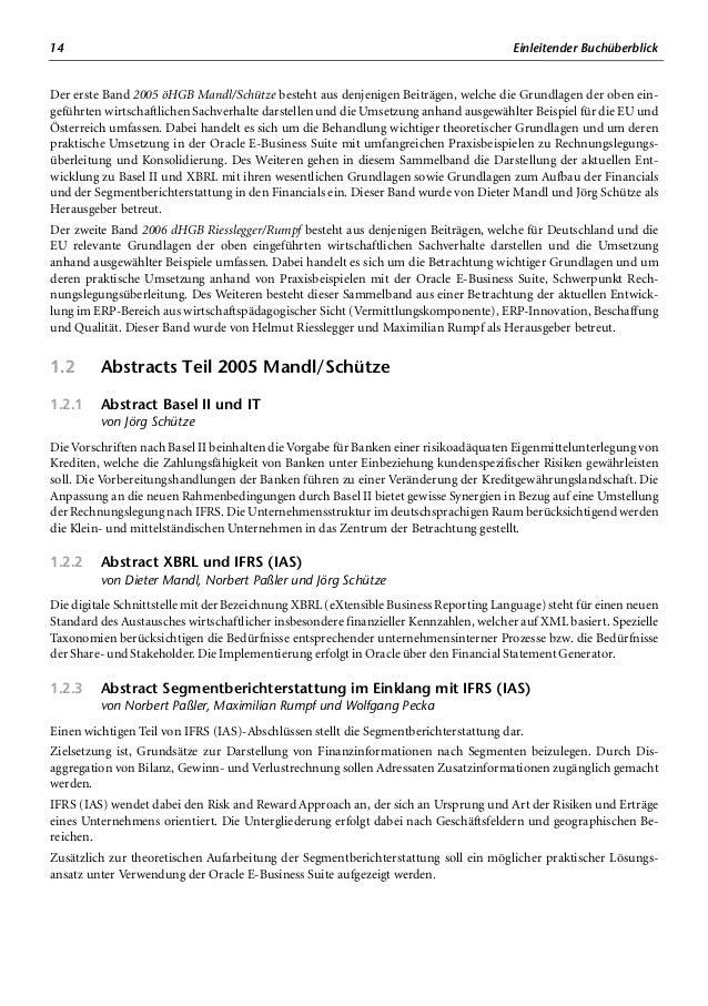 16 Einleitender Buchüberblick 1.3 Abstracts Teil 2006 Riesslegger/Rumpf 1.3.1 Abstract Überleitung (d) HGB <> IFRS von Chr...