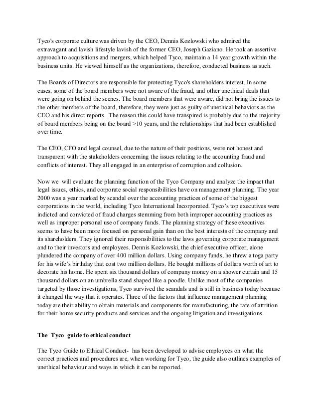 tyco scandal essay