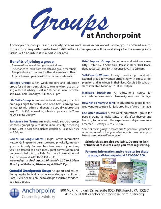 Groupsat Anchorpoint Anchorpoint's groups reach a variety of ages and issues experienced. Some groups offered are for thos...