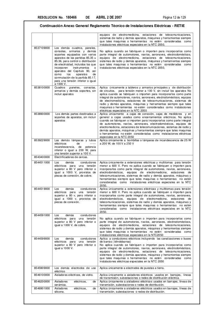 RESOLUCION No. 180466               DE          ABRIL 2 DE 2007                                    Página 12 de 129   Cont...