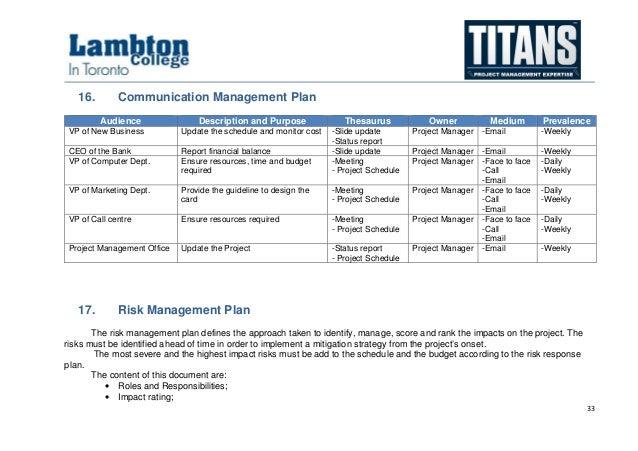 ... 33. 33 16. Communication Management Plan ...
