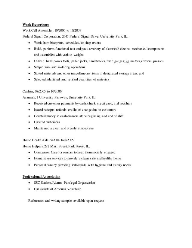 entry level paralegal resumes