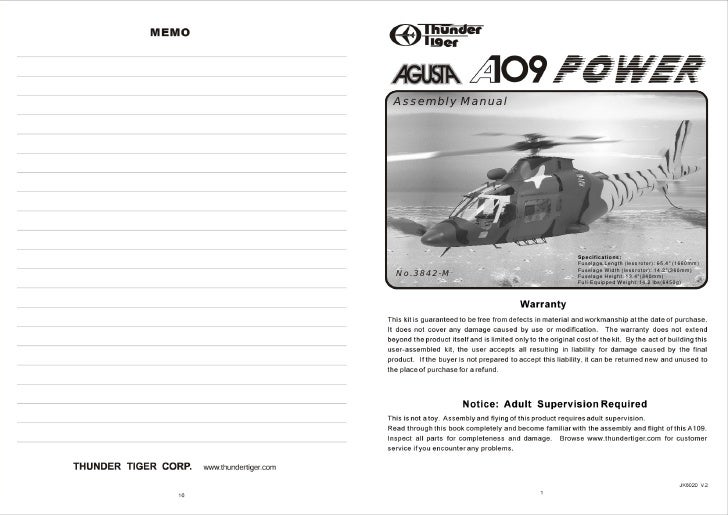 """Assembly Manual                       Specifications:                   Fuselage Length (less rotor): 65.4"""" (1660mm)      ..."""