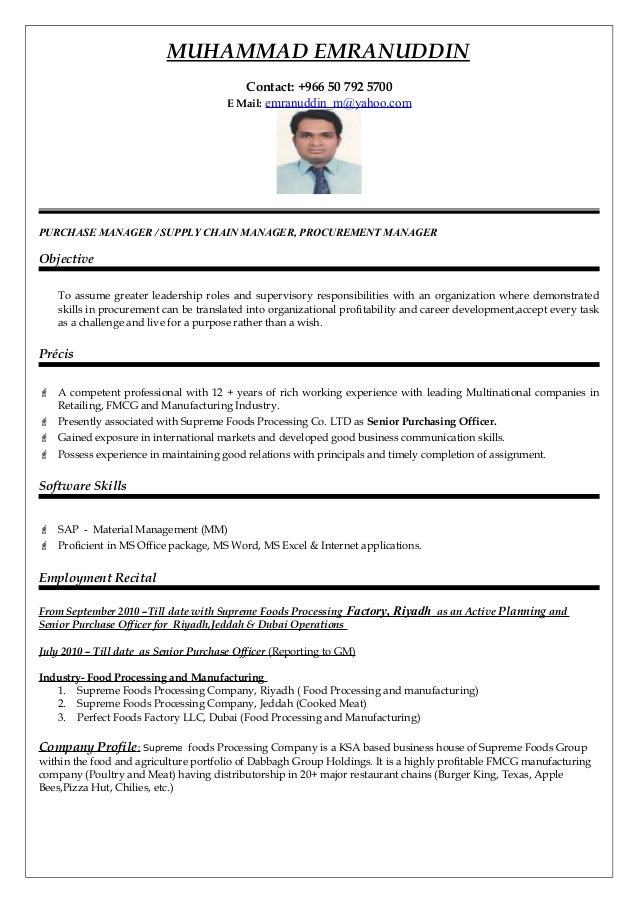 Purchase Manager Resume Professional Resume Templates