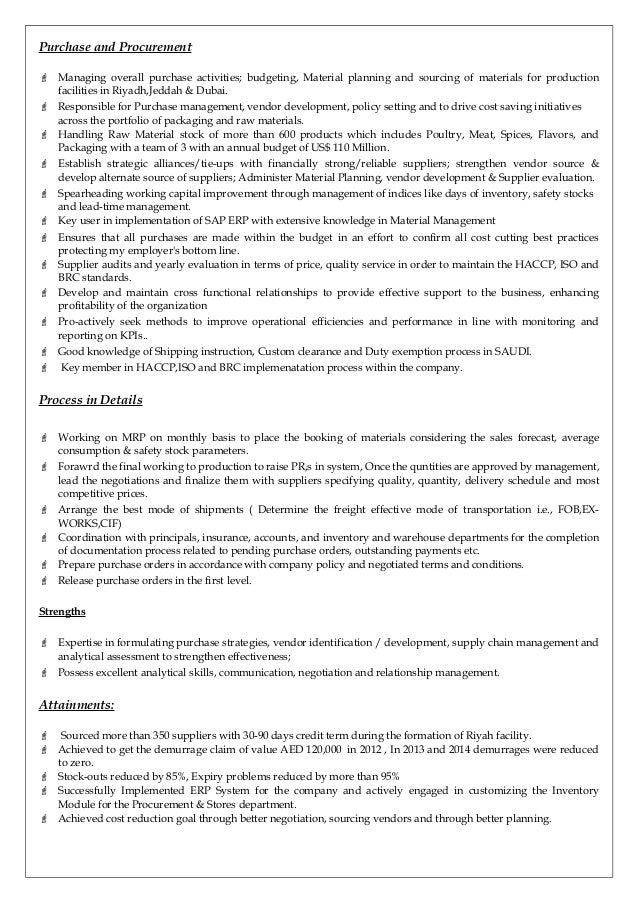 sample resume for purchase manager