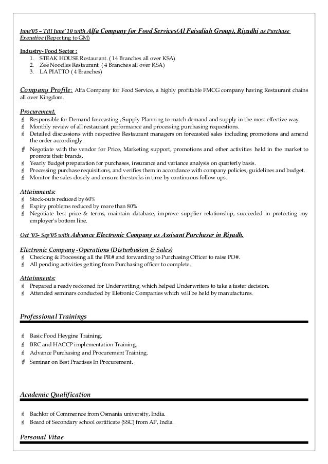 professional purchasing manager resume