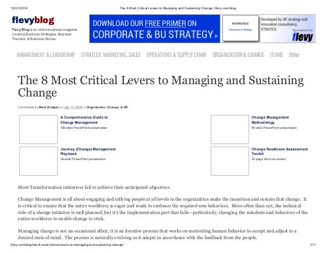 10/21/2019 The 8 Most Critical Levers to Managing and Sustaining Change | flevy.com/blog flevy.com/blog/the-8-most-critica...
