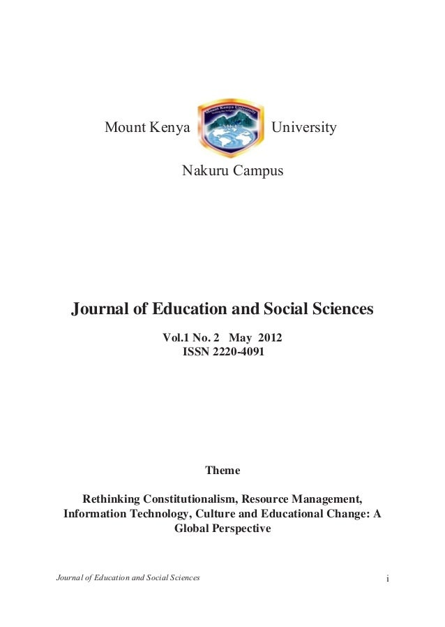Mku social journal journal of education and social sciences i journal of education and social sciences vol1 fandeluxe Choice Image