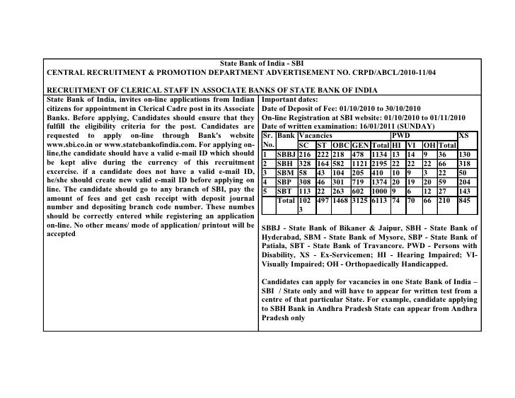 State Bank of India - SBI CENTRAL RECRUITMENT & PROMOTION DEPARTMENT ADVERTISEMENT NO. CRPD/ABCL/2010-11/04  RECRUITMENT O...