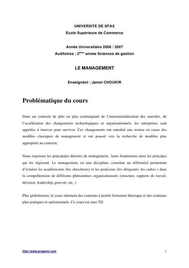 UNIVERSITE DE SFAX                              Ecole Supérieure de Commerce                              Année Universita...