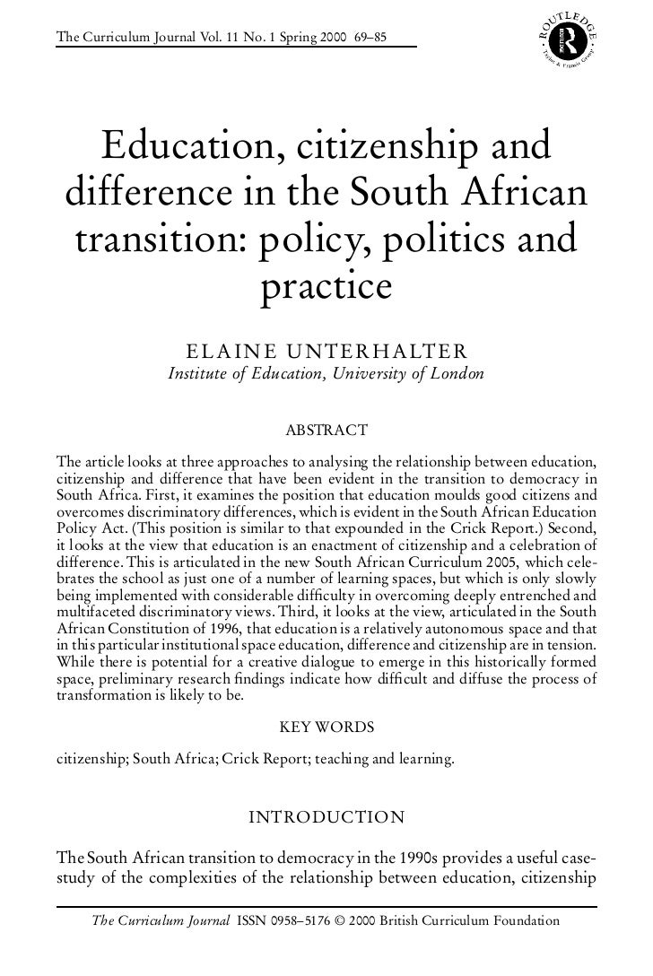 The Curriculum Journal Vol. 11 No. 1 Spring 2000 69–85   Education, citizenship and difference in the South African transi...