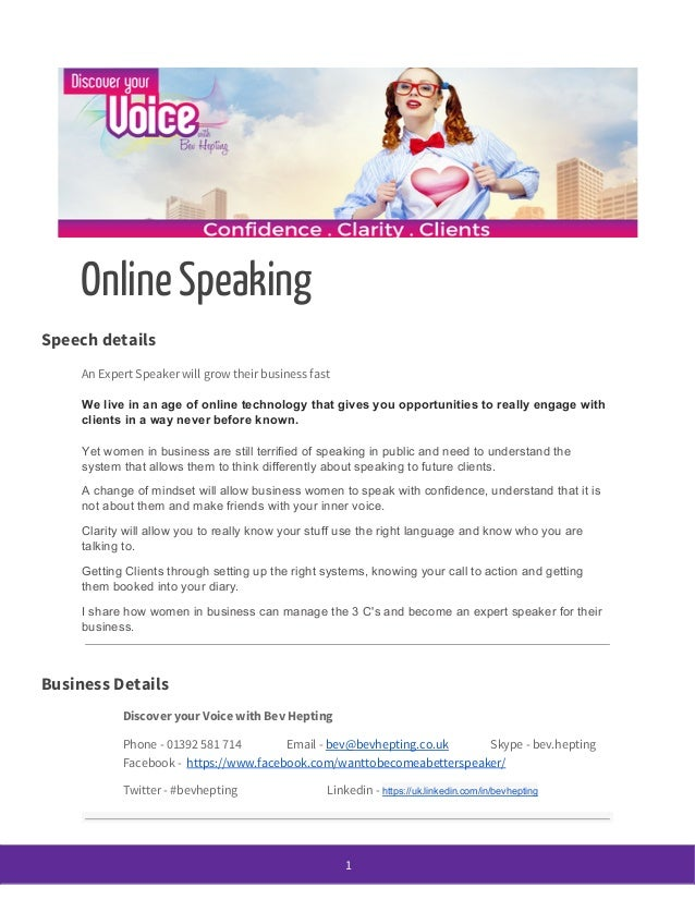 Online Speaking Speech details An Expert Speaker will grow their business fast We live in an age of online technology that...