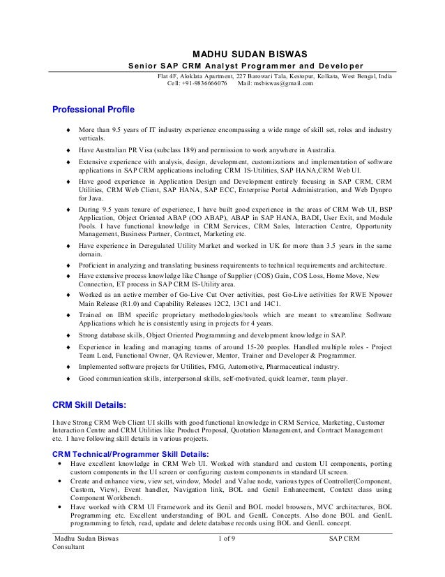 100 sap crm functional resume exle cover letter